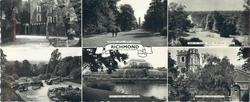 6 insets and titled RICHMOND, RICHMOND PALACE and PAGODA VISTA, KEW GARDENS and VIEW OF THAMES FROM RICHMOND TERRACE and TERRACE GARDENS and PALM HOUSE, KEW GARDENS and RICHMOND PARISH CHURCH