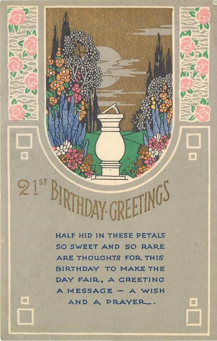 21 ST (or not) BIRTHDAY GREETINGS sun-dial, formal garden