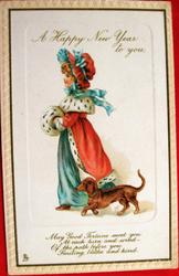 A HAPPY NEW YEAR TO YOU girl dressed in red & blue walks left, dachshund accompanies