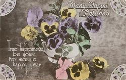 MANY HAPPY RETURNS  many coloured pansies in white bowl