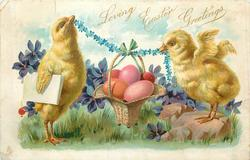 LOVING EASTER GREETINGS two chicks hold up basket of easter eggs with floral garland