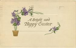 A BRIGHT AND HAPPY EASTER  gilt pot with stylised violets