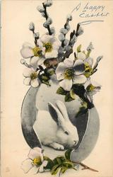 white bunny in egg with  white pussy willows and small white flowers