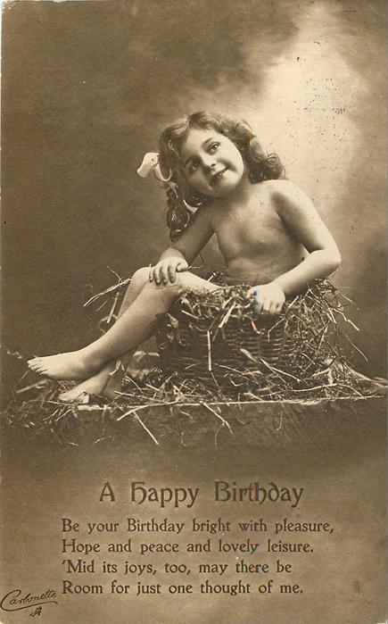 HAPPY BIRTHDAY nude child in basket