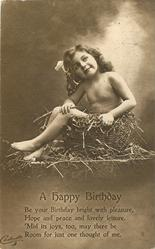 HAPPY BIRTHDAY nude child in basket