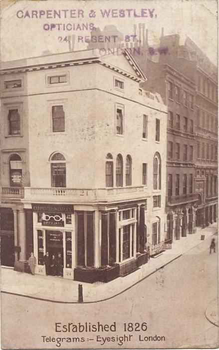view of corner shop, CARPENTER & WESTLEY, OPTICIANS, 24 REGENT ST. LONDON, S.W.