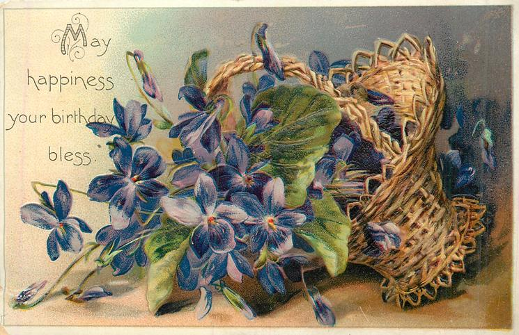 MAY HAPPINESS YOUR BIRTHDAY BLESS  basket of violets