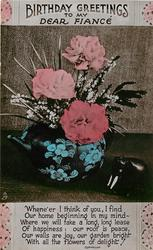 HAPPY BIRTHDAY TO MY DEAR FIANCEE  vase of carnations
