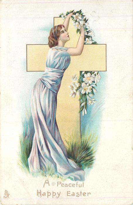 A PEACEFUL HAPPY EASTER WOMAN dressed in purple adjusts lilies standing in front of yellow cross
