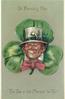 ST. PATRICK'S DAY, THE TOP O' THE MORNIN' TO YE!  Irishmans face in exaggerated shamrock
