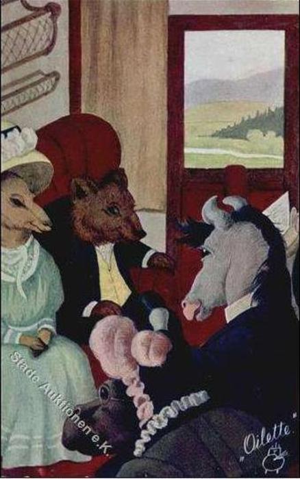 male & female personised donkeys & bear sit in railway carriage