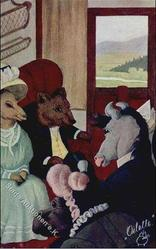 male & female personised donkeys & bear sit in railway carriage