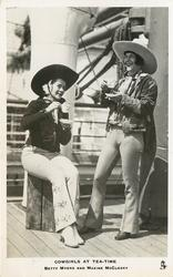 COWGIRLS AT TEA-TIME  BETTY MYERS AND MAXINE MCCLESKY
