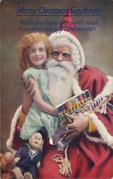 MERRY CHRISTMAS GREETINGS  Santa cuddles girl, puppet and crackers, Santa and girl facing outward