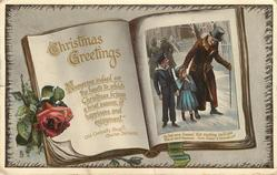 CHRISTMAS GREETINGS inset scene from DICKENS-  A CHRISTMAS CAROL
