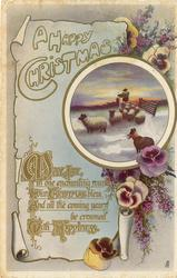 A HAPPY CHRISTMAS inset pastoral scene, pansies surround