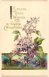 SINCERE GOOD WISHES FOR A HAPPY CHRISTMAS lilac, inset rural scene