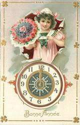 BONNE ANNE girl above clock with bouquet of flowers & letter