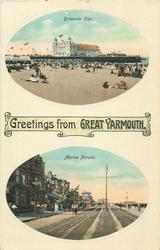 GREETINGS FROM GREAT YARMOUTH, 2 insets BRITANNIA PIER and MARINE PARADE