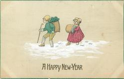 A HAPPY NEW YEAR  Dutch boy carries clover, girl follows behind