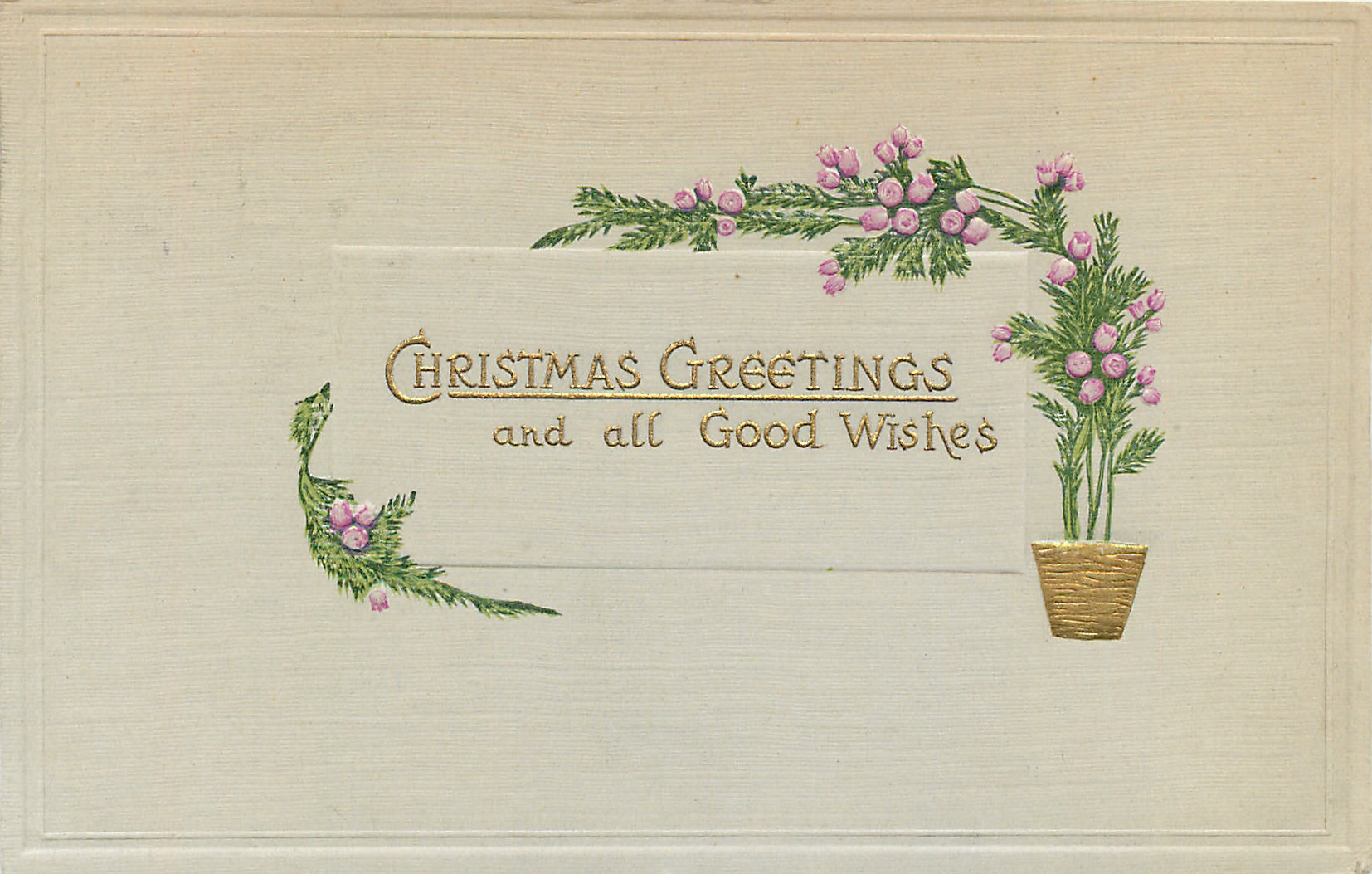 Christmas Greetings And All Good Wishes Gilt Pot With Stylised
