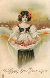 A HAPPY NEW YEAR TO YOU girl in white dress, black top,holds flowers in skirt, gilt behind