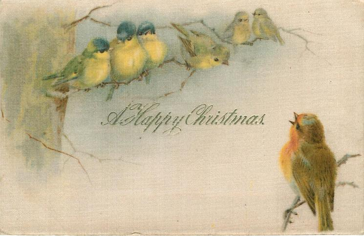 A HAPPY CHRISTMAS robin sings to 6 birds on another branch