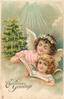 CHRISTMAS GREETINGS two angels with song book, tree with lighted candles in background