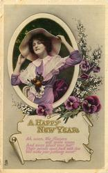 A HAPPY NEW YEAR  pretty girl inset, pansies right