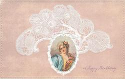 oval inset head & shoulders of lady, facing front, rose in her hair, floral corsage, lace surround on pink background