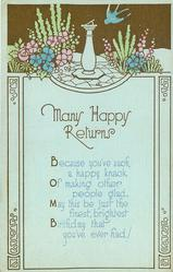 MANY HAPPY RETURNS  verse, blue birds,flowers, sundial light blue cardstock