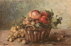 wicker basket of apples and walnuts, grapes on table