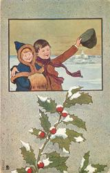 inset of night winter scene, boy with arm around girl in snow, snow on holly below