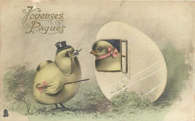 chick with top hat and cane greets chick from 'egg house' window