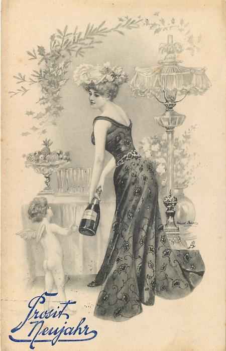 woman shows angel a bottle of champagne