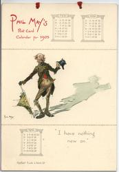 decrepit tramp holds hat (calendar page title I HAVE NOTHING NEW ON)