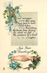 NEW YEAR GREETINGS  clasped hands, ivy, forget-me-nots