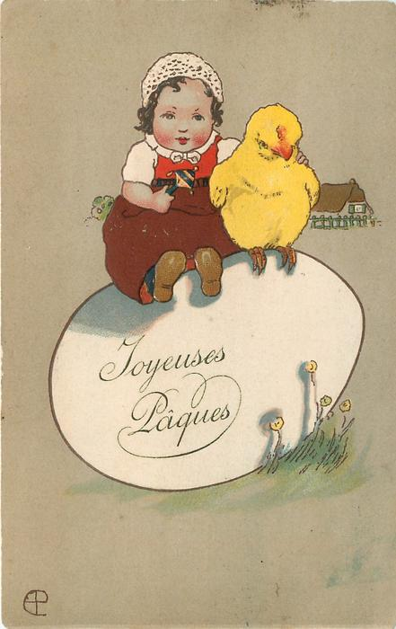 girl sits with giant chick on giant egg