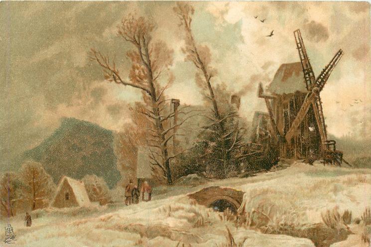 snowy rural scene, cottage left, small bridge centre, windmill right