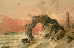 rock formation with hole in centre, small crashing waves, lighthouse