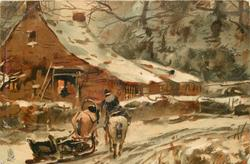 farmhouse left, two horses & sleigh, snow