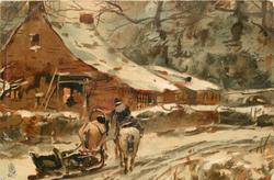 farmhouse left, two horses & sleigh, snow