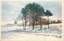 snow covered landscape, house behind trees centre right, windmill on horizon