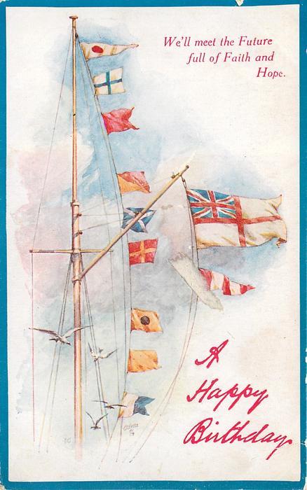 A HAPPY BIRTHDAY  signal flags flying, seagulls