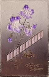 A HAPPY CHRISTMAS  violets above ribbon applique