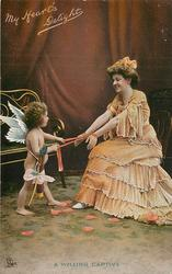 MY HEART'S DELIGHT cupid captures lady by her hands