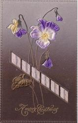 A MERRY CHRISTMAS  embossed inserts of pansies & purple ribbon