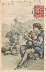 elegant shepherdess sits with sheep, watching elegant shepherd play bagpipes