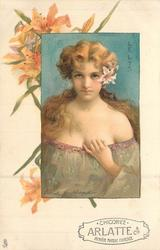 LE LYS  young lady with low cut light green dress, long hair tied behind neck, lilies over left ear & earings