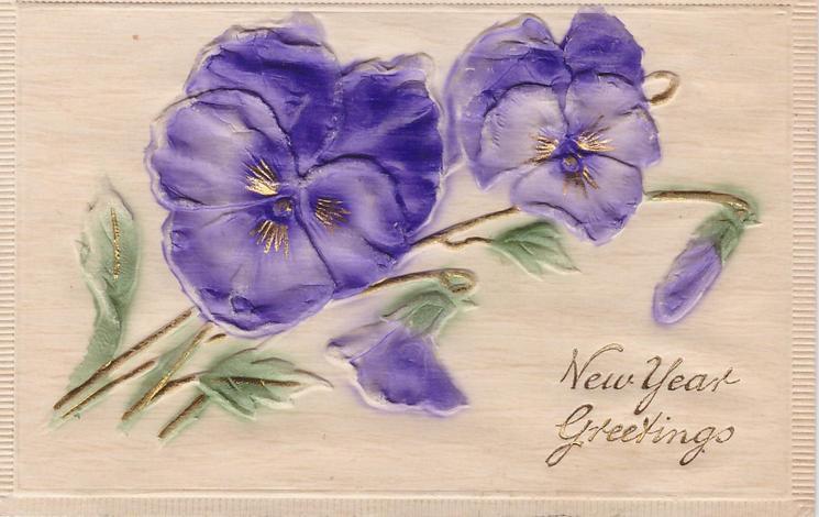 NEW YEAR GREETINGS purple pansies